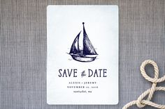 """""""Nautical"""" - Hand Drawn, Destination Save The Date Cards in Navy by Rebecca Bowen."""