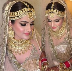bridal jewelry for the radiant bride Pakistani Wedding Outfits, Pakistani Bridal Wear, Bridal Looks, Bridal Style, Indian Bridal Makeup, Wedding Makeup, Bridal Jewelry, Gold Jewellery, Indian Designer Wear