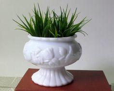 Vintage Milk Glass Planter