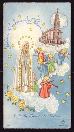 OUR LADY of FATIMA w/ROSARY + 5 CHILDREN ANGELS. Vintage HOLY CARD 1940s #HolyCard