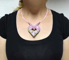 #Jewelry #Polymer clay hollow #heart  #pendant flowers on by @artefyk, $42