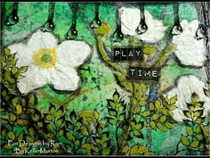 ▶ Mixed Media Mini Art Journal Series - Page #13 - Play Time with Designs by Ryn Stencils and Stamps - YouTube
