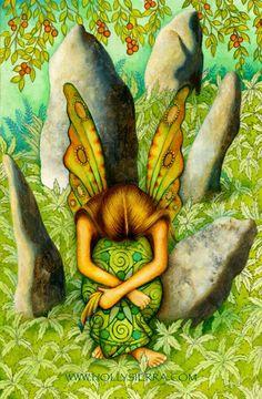 *+*Mystickal Faerie Folke*+*...The Five Of Stones ~ from the Chrysalis Tarot by Artist Holly Sierra...