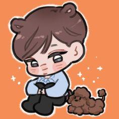 Exo Cartoon, Exo Stickers, Exo Fan Art, Kaisoo, Kim Jong In, Exo Kai, Cute Boys, Boy Groups, Chibi