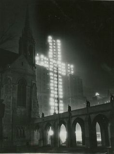 The Palmolive Building, lit for Christmas, as seen from the courtyard of Fourth Presbyterian, 1933, Chicago.