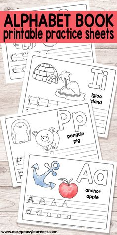 Free Printable Alphabet Book - Alphabet Worksheets for Pre-K and K - Easy Peasy Learners worksheets free printables Pre K Worksheets, Letter Worksheets For Preschool, Preschool Books, Preschool Alphabet, Coloring Worksheets, Preschool Themes, Preschool Lessons, Learning Activities, Weather Worksheets