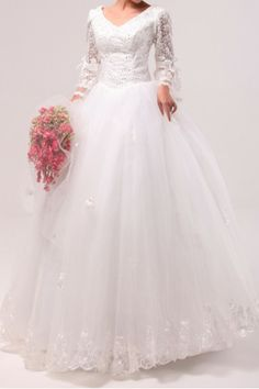 Lace V-neck Floor Length Ball Gown Wedding Dress with Sequins - Alice Bridal