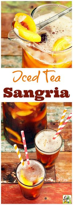 This easy iced tea sangria recipe uses frozen, sliced fruit and natural, no-calorie sweetener. Cool down with this ice tea fruit recipe. Alcoholic Iced Tea, Iced Tea Cocktails, Mocktail Drinks, Smoothie Drinks, Fruit Tea Recipes, Iced Tea Recipes, Sangria Recipes, Smoothie Recipes, Vegan Smoothies