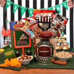 Buy It's Football Time Gift Pail. More - It's Football Time Gift Pail. It's Football Time Gift PailIncludes:Football pail Relaxable mini football It's time for football snack mix football noise maker Jack Links Jerky TGI Fridays cheddar bacon ch Gift Baskets For Him, Themed Gift Baskets, Birthday Gift Baskets, Raffle Baskets, 50th Birthday Gifts, Birthday Ideas, Theme Baskets, Basket Gift, Dad Birthday