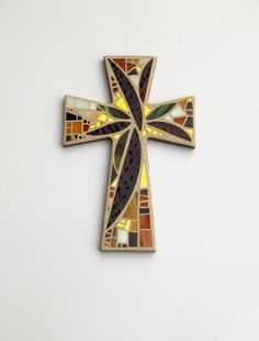 """Mosaic Wall Cross, Large, Abstract Floral, """"Sunset"""", Browns+Olive+Gold Mirror Handmade Stained Glass Mosaic Cross Wall Decor, 15"""" x 10"""" by GreenBananaMosaicCo"""