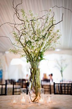 IDEAS PLEASE -Centerpieces - Branches and flowers and candles hang/table :  wedding Branches Centerpieces 81111