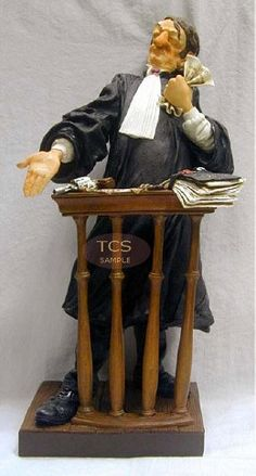 Guillermo Forchino The Lawyer / L'avocat #GuillermoForchino #Art. The defendant was accused of assault with a firearm and the robbery of two chickens and six eggs. Despite the testimony of four witnesses, the discovery of hundreds of feathers in his house, and a stew pot full of chicken bones, and a frying pan with leftovers of an omelette, the famous lawyer Mario Puzottiended with an eloquent defense and managed to persuade the jury of his client's innocence.