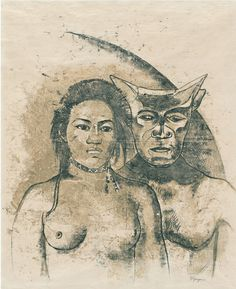 Paul Gauguin. <i>Tahitian Woman with Evil Spirit</i> (recto). c. 1900. Oil transfer drawing