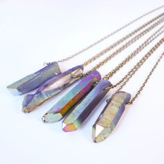 Rainbow Aura Healing Crystal Bullet Necklace - Vintage Boho - Galaxy Natural Titanium Quartz Jewellery- Bohemian Crystal Stone Jewelry