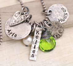 Personalized Necklace, Mother's Necklace, Mothers  Necklace with Heart, Four Names, Hand stamped Rustic Mom Necklace by MangoJewels on Etsy https://www.etsy.com/listing/168997648/personalized-necklace-mothers-necklace