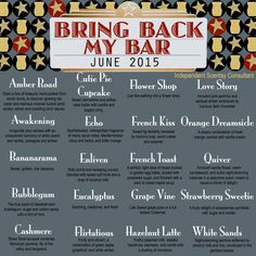 Here is the list of fragrances that will be available in the Bring Back My Bar promotion which starts June 1st! I will be having an AWESOME special during the month of June. If you would like to learn more about my personal special, please message me! www.lynnebiniker.scentsy.us