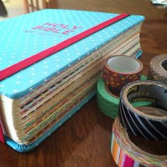 Bible journaling ideas: washi tape on the first page of each book of the Bible