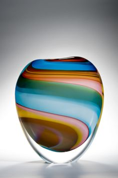 """Highlights Stoneform. A stunning precursor to Peter Layton's """"Skylne"""" series,  this magnificent stoneform embodies all the majestic colors of the setting sun."""