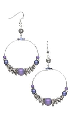 "Jewelry Design - Earrings with Beading Hoops, Czech Glass Druk Beads and Antiqued ""Pewter"" Beads - Fire Mountain Gems and Beads"