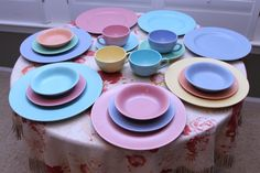 Beautiful 1930's Poppytrail by Metlox Pastel Set of Vintage Dishes