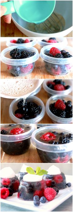 Sparkling Berry Jelly Cups // easy, pretty and fresh for summer desserts via Tablespoon