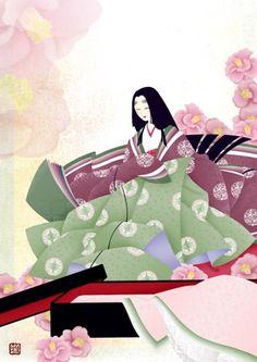 A woman dressed in junihitoe. Geisha Anime, Geisha Art, Manga Anime, Japanese Painting, Japanese Art, Japanese Style, Temari Patterns, Heian Era, Japanese Illustration