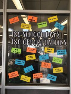 180 School Days / 180 Opportunities - Decoration For Home Counseling Bulletin Boards, Office Bulletin Boards, Back To School Bulletin Boards, School Staff, School Classroom, School Days, Classroom Decor, School Counselor Door, Classroom Board