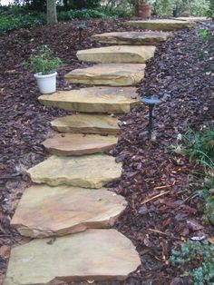 Crab Orchard stepping stones for front walkway - natural look