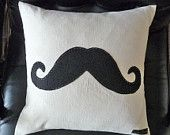 Black Moustache  Pillow,  Mustache Throw Cushion, Man Cave Decor, Eco Friendly, Guys Christmas Gift, SteamPunk Couch Cushion 18x18
