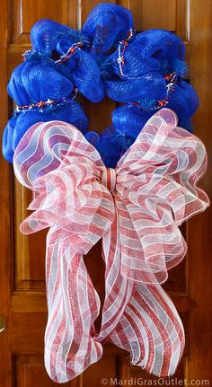 Patriotic Deco Mesh Wreath with Striped Bow