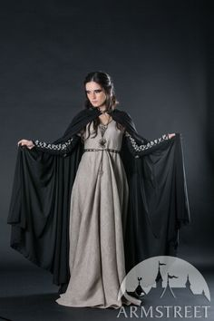 Black semi-transparent medieval fantasy cloak robe for sale. Available in: dark blue chiffon, red chiffon, white chiffon, black chiffon, bronze color, silver :: by medieval store ArmStreet