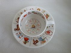 Vintage Fortune Telling Tea Cup and Saucer Tea Leaf Reading Coffee Grounds Porcelain Royal Kendal 1985 Gypsy Astrology Divination Some wear on Etsy, $39.00