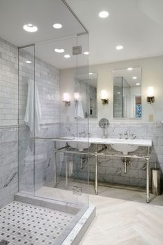 "Traditional Master Bathroom with Rain shower, Wall sconce, Frameless glass shower door, Marble subway tile (3""x6"" tile)"