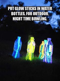 Glow Stick bowling for the backyard!