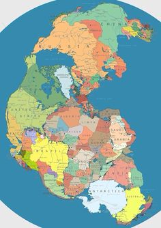 Map of Pangea with current international borders