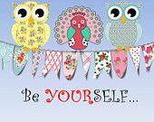 Girl Nursery Room Decor Be Yourself Owls & Peacock Wall Art Print / Little Tweet Heart