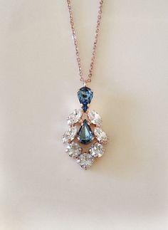 Dusty blue wedding, Steel blue dusty blue necklace, bridal necklace, pendant, bridesmaid gift, something blue, blue