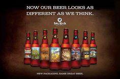 Promotional creative unveiling the new beer bottle label designs for Big Rock's Signature Series brews, Beer 101, Cream Soda, Root Beer, Label Design, Hot Sauce Bottles, Brewery, Beer Bottle, Big, Rock