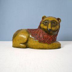 Vintage Gemma Taccogna Paper Mache Lion Figurine by MidModMomStore, $120.00