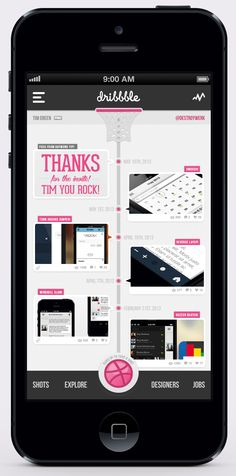 From Dribbble.  Using a standard layout for timeline.