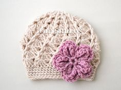 Baby Girl Crochet Hat, Beige Baby Girl Hat, Baby Girl Hat, Beige Crochet Baby Girl Flower Hat, Infant Hats, Ready to ship