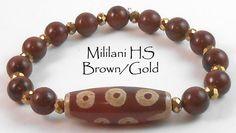 "Jan O Designs - Old DZI Stone Bead Bracelet - 7"" 10 Eyed DZI w/Mahogany Obsidian - Mililani High School - Brown/Gold, $50.00 (http://www.janodesigns.com/old-dzi-stone-bead-bracelet-7-10-eyed-dzi-w-mahogany-obsidian-mililani-high-school-brown-gold/)"