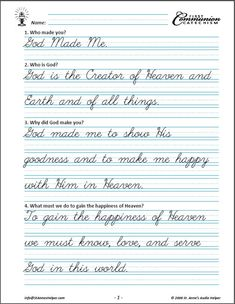 Saint Anne's Helper Cursive First Communion Copybook comes with the Manuscript version. Both are verbatim to the audio. Great for catechism or handwriting practice. Cursive Writing Practice Sheets, Teaching Cursive, Cursive Handwriting Practice, Neat Handwriting, Cursive Alphabet, Handwriting Practice Worksheets, Cursive Writing Worksheets, School Worksheets, Catholic Catechism