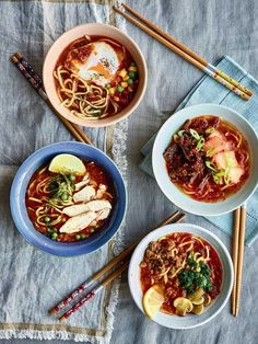 Nadiya Hussain's clever take on instant noodles is a go-to comfort food recipe, with four variations packed with delicious flavours and satisfying ingredients. These stress-free noodles make a warming lunch or an easy weeknight supper. Asian Recipes, Healthy Recipes, Ethnic Recipes, Nadiya Hussain Recipes, Noodle Recipes, Soup Recipes, Bbc Recipes, Dinner Recipes, Dutch Recipes