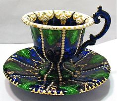 ANTIQUE GOLD STERLING SILVER HEAVILY ENAMELED CUP SAUCER VIBRANT COLORS