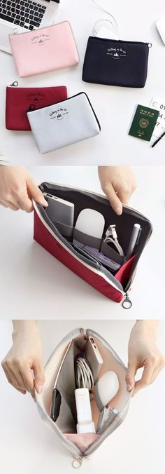 If you are looking for a larger cable pouch, this pouch is meant for you! You can even store a small device like an iPad mini and a Macbook charger with extension in the spacious compartment!