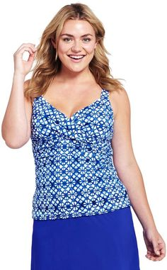 814aab46b1bff Lands end Women s Plus Size Underwire Wrap Tankini Top   tummy control lining. Swimsuit Cover UpsTankini ...