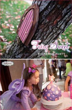 ADORABLE woodland fairy party in pinks and purples, love the little door on the trees, and the party under the tree!