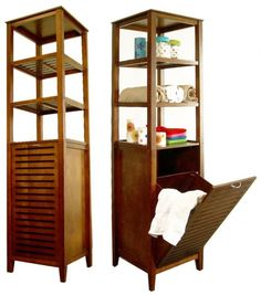"""Spa Bath Tower with Tilting Hamper (Light Walnut) (66.25""""H x 17""""W x 14.5""""D). This Spa Bath Tower features a tilt-out hamper, a space-efficient bathroom organizer that works in the master or guest bathroom! The upper shelves are fixed and offer easy accessibility to daily use items, towels, or a display for collectibles. Made of solid wood and mdf, these bathroom shelves feature a teak veneer with a light walnut finish, just like you see in the finest spas! Ideal as a linen tower in the…"""
