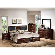 ACME Furniture 21907EK Windsor Bed with Storage, Eastern King, Black PU/Merlot